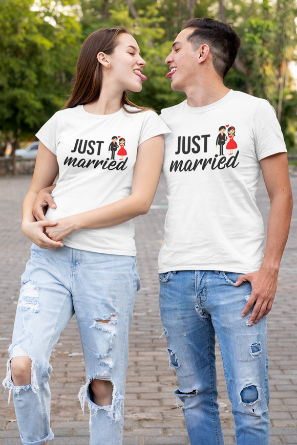 just married couple tshirt for newly weds online in India - nautunkee.com