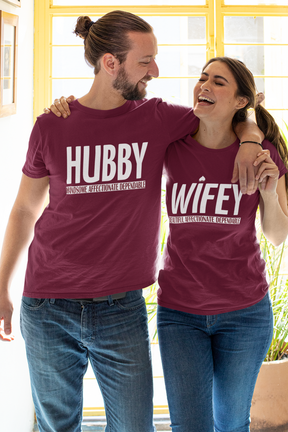 Hubby Wifey Couple T-shirt online in India - nautunkee.com | Valentine's Day gift ideas for hubby and wife