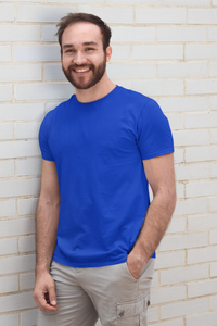 Plain Royal Blue - Mens Half Sleeves Round Neck T-shirt - nautunkee.com