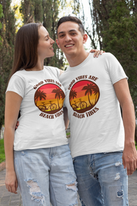 Beach Vibes Matching Couple T-Shirt For Beach Vacation
