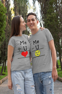 Me+U Me-U Matching Couple T-shirt - nautunkee