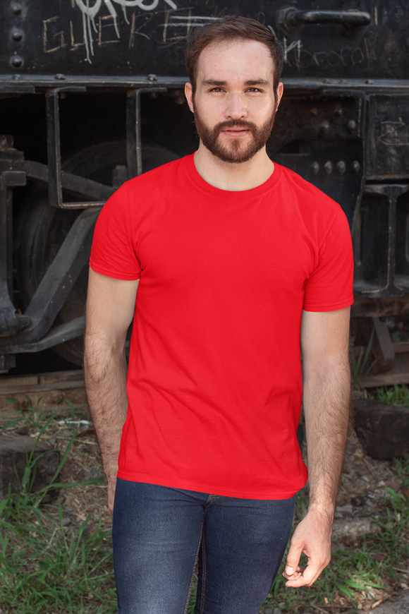 Plain Red - Mens Half Sleeves Round Neck T-shirt online in India - nautunkee.com
