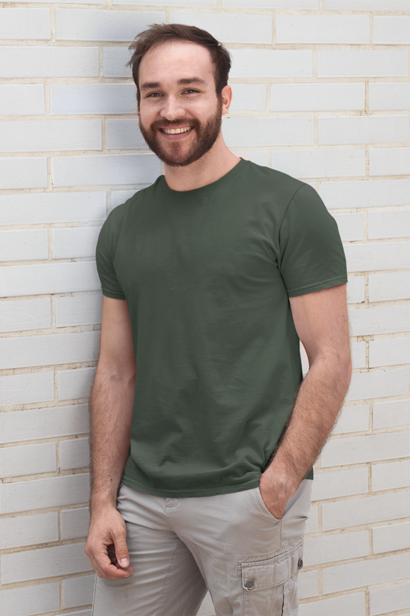 Plain Olive Green - Mens Half Sleeves Round Neck T-shirt, olive green t shirt , army green t shirt - nautunkee.com