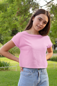plain light pink crop top for women - nautunkee.com