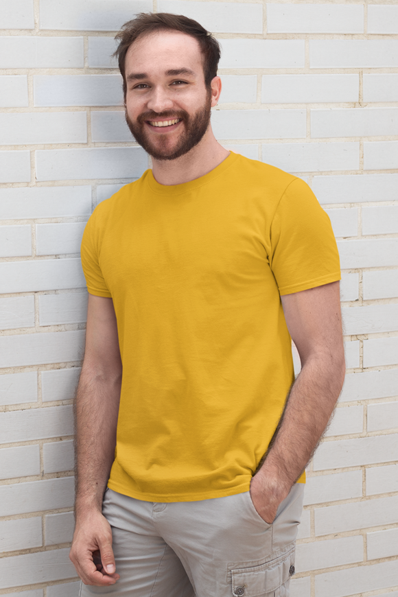 plain golden yellow half sleeve men's t-shirt online in India - nautunkee.com