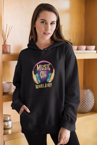Music On World Off Women's Hoodie online in India- nautunkee.com -
