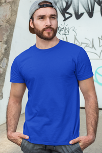 Plain Royal Blue - Mens Half Sleeves Round Neck T-shirt