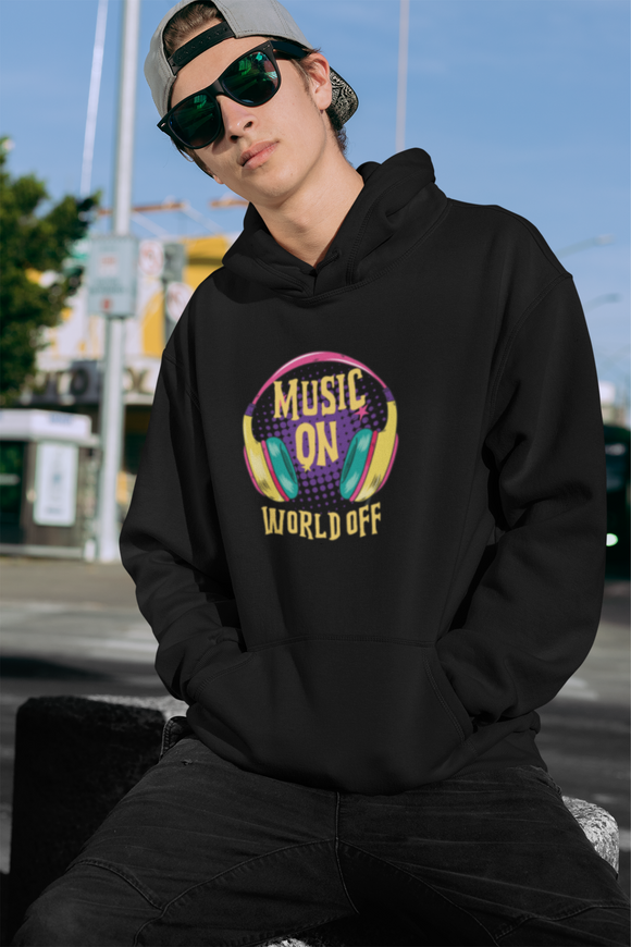 Music On World Off Men's Hoodie online in India- nautunkee.com -
