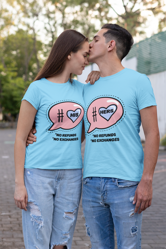 His Hers matching couple t-shirt - nautunkee