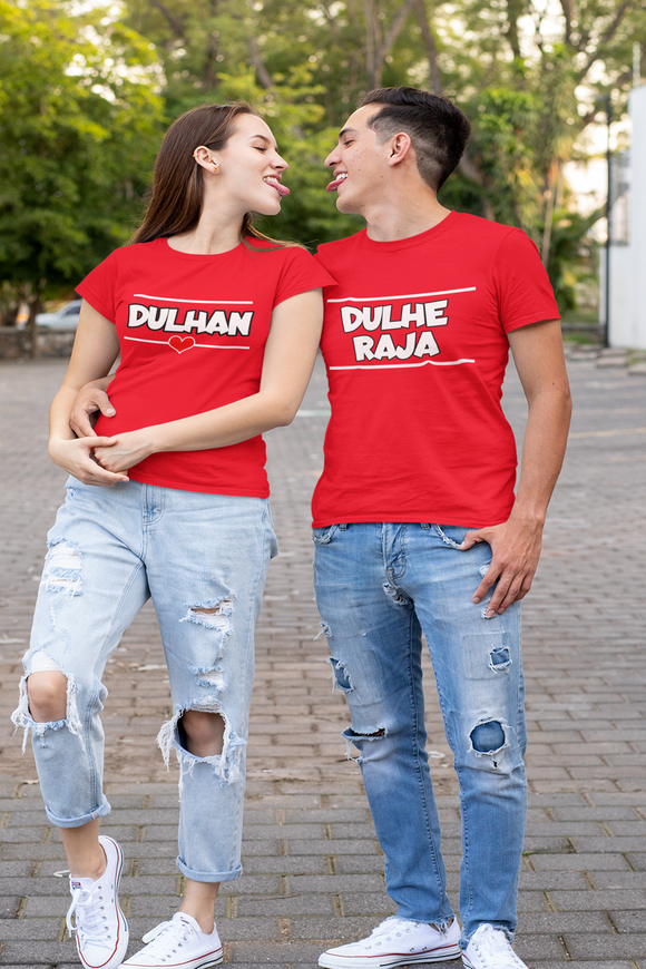 dulhe raja & dulhan couple t shirts for pre wedding shoot, couple t shirts for pre wedding - nautunkee