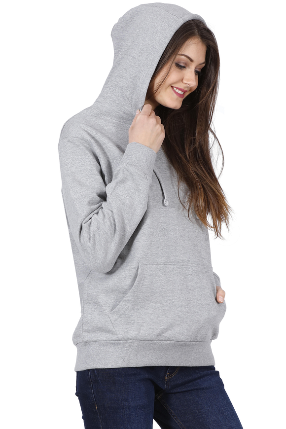 Plain Melange Grey Hoodie For Women online in India - nautunkee.com