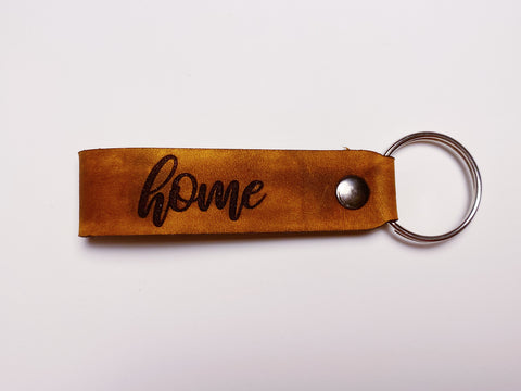 """HOME"" Leather Keychain"