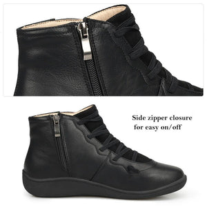 Women's Leather Ankle Boots Low Heel