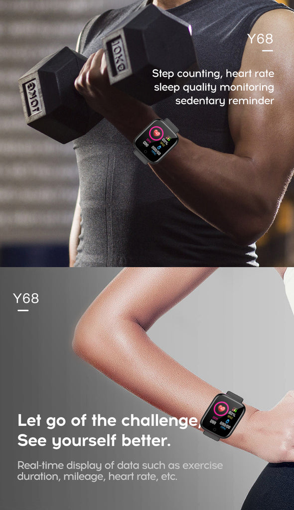 Y68 smart heart rate D20 smart bracelet sports bluetooth watch