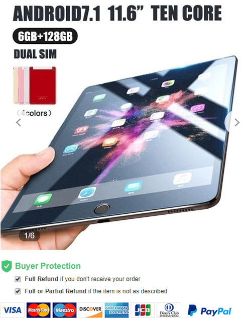 Newest WiFi Tablet PC 11.6 Inch Ten Core 3G Network Android 8.0 Arge 2560*1600 IPS Screen Dual SIM Dual Camera Rear 13.0 MP IPS Buletooth MTK6797 Call Phone Tablet Gifts(RAM 6G+ROM 64G/128G) Tablet-PC Tablette