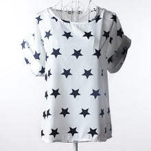 Load image into Gallery viewer, Summer Women Shirts Chiffon Printed Blouse Short Sleeve Tee Lady Girl Loose Casual Tops IK88