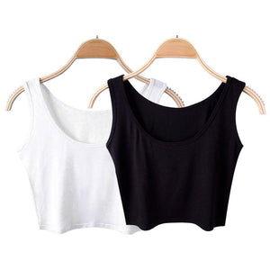 2018 Summer Slim Render Short Top Sexy Women Sleeveless U Croptops Tank Tops Solid Black/White Crop Tops Tube Vest