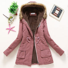 Load image into Gallery viewer, Overcoat Women Winter thick coat Warm Hooded Pockets Slim Faux Fur Parka Jacket Female