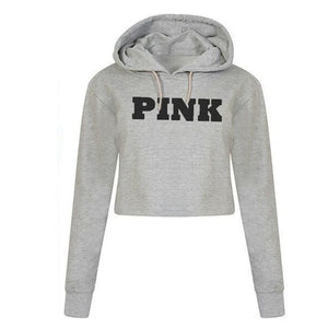 Women Oversized Hoodies Jumper Sweatshirt Female Pink Cropped Top Winter Kawaii Harajuku Letter Loose Pullover