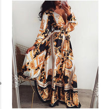 Load image into Gallery viewer, 2019 Hot Sale Women Long Sleeve V Neck Floral Boho Vintage Maxi Dress Holiday Beach Dress Ladies Party Dress