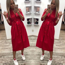 Load image into Gallery viewer, 2019 Women Casual Sashes Button A-Line Dress Stand Collar Seven Sleeve Elegant Party Dresses Office Lady Women Knee Length Dress