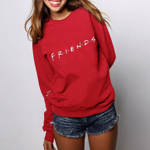 Brand New 2019 Womens 5 Colors Letters FRIENDS Print Long Sleeve Hoodie Sweatshirt Ladies Slouch Pullover Jumper Tops S M L XL