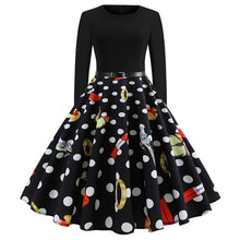 Load image into Gallery viewer, Vintage Dress Women Long Sleeve Print Christmas Dress Winter Elegant Swing Party Dresses Robe Femme Casual Rockabilly Vestidos