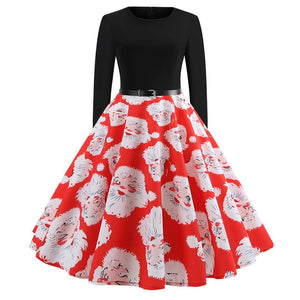 Vintage Dress Women Long Sleeve Print Christmas Dress Winter Elegant Swing Party Dresses Robe Femme Casual Rockabilly Vestidos