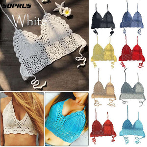 2019 New crop top Sexy Women Summer Backless Crochet top Knit Beach Knitting Halter Cami Tank Crop Top S / M / L / XL HOT