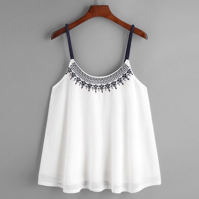 2019 Summer Women cute blouses low cut Sleeveless Chiffon Embroidered Blouse Top Ladies'  Vest Shirt Strappy Femininas Blusas