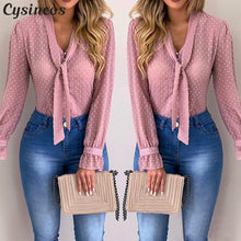 Load image into Gallery viewer, Cysincos Chiffon Blouses Women 2019 Autumn Fashion Long Sleeve V-neck Pink Shirt Office Blouse Slim Casual Tops Female Plus Size