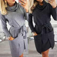Load image into Gallery viewer, Autumn Winter Women Blouse Dress Heap Turtle Neck Long Sleeve Pocket Dress Tops Ladies Tight waist bow Female Sweatshirt Vesdies