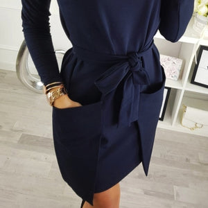 Autumn Winter Women Blouse Dress Heap Turtle Neck Long Sleeve Pocket Dress Tops Ladies Tight waist bow Female Sweatshirt Vesdies