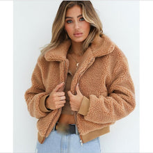 Load image into Gallery viewer, Women Thick Warm Teddy Bear Pocket Fleece Jacket Coat Zip Up Outwear Overcoat Winter Soft Fur Jacket Female Plush Coat Elegant