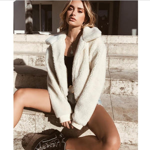 Women Thick Warm Teddy Bear Pocket Fleece Jacket Coat Zip Up Outwear Overcoat Winter Soft Fur Jacket Female Plush Coat Elegant