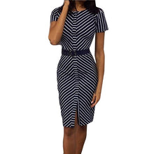 Load image into Gallery viewer, Office Lady Workwear Striped Straight Slim Short Sleeve Elegant Dress Summer Outdoor Casual Daily Dress Belt Elegant Work Dress