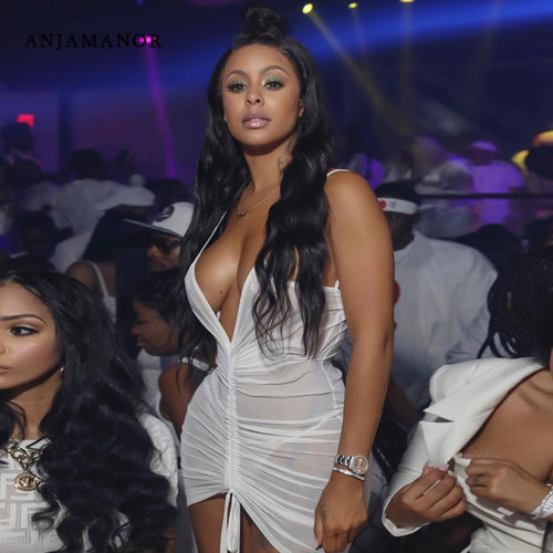 ANJAMANOR See Through Mesh Hot and Sexy White Bodycon Dress Club Wear Neon Drawstring Ruched Backless Mini Dresses D70-H23