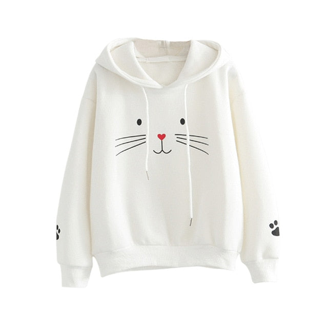 Women Hoodies Long Sleeve Pattern Printed Strappy Girls Pullover Tops Sweatshirts -MX8