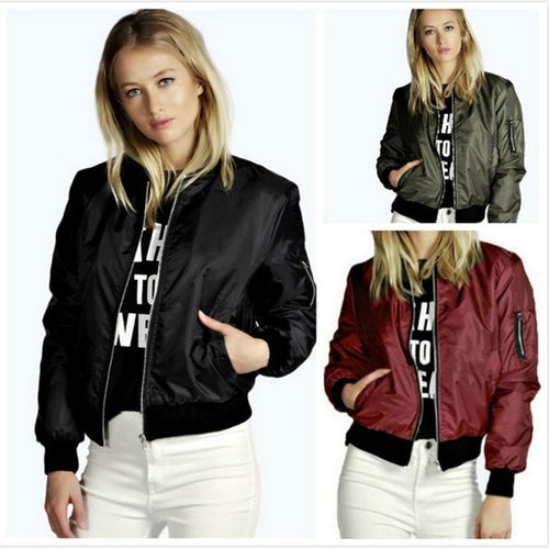 Women's Fashion Jackets Ladies Thin Long Sleeve Basic Windbreaker Bomber Jacket Women Zipper Stand Collar Coats Women Jacket
