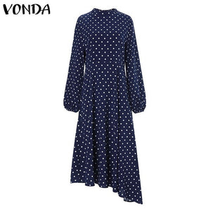2019 Autumn Dress VONDA Dot Printed Vintage Overalls Summer Dress Beach Vestidos Womens Evening Party Robe Femme Sexy Sundress