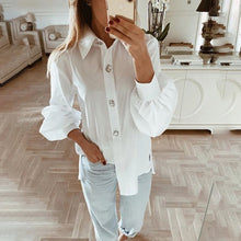 Load image into Gallery viewer, Office Women Blouse 2019 Fashion Fall Long Lantern Sleeve Elegant Shirts Korean Work Tops Female Clothing White Shirt Women Tops