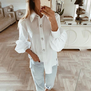 Office Women Blouse 2019 Fashion Fall Long Lantern Sleeve Elegant Shirts Korean Work Tops Female Clothing White Shirt Women Tops