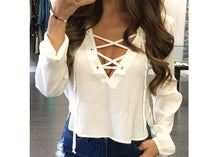 Load image into Gallery viewer, 2019 Autumn Fashion Womens Shirts Sexy Lace Up Bandage V-Neck Long Sleeve Solid Color Shirts Tops Loose Blouse Casual Shirt Tops