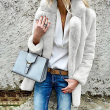 Load image into Gallery viewer, New winter jacket coat women turn down neck thick white warm fur outwear clothes  jackets women coats chaqueta mujer BDR672