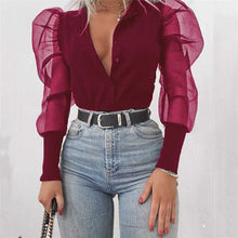 Load image into Gallery viewer, Fashion Sexy Mesh Long Sleeve Women Solid Color Puff Sleeve Blouse Tops