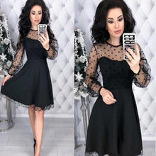 Load image into Gallery viewer, Fashion Patchwork Dot Lace Dress Women Vintage O-Neck Plus Size Party Dresses Female Chic Slim Autumn Long Sleeves A-Line Dress
