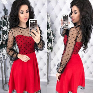 Fashion Patchwork Dot Lace Dress Women Vintage O-Neck Plus Size Party Dresses Female Chic Slim Autumn Long Sleeves A-Line Dress