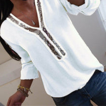Load image into Gallery viewer, Fashion Women Ladies Long Sleeve Loose Blouse Summer V-Neck Casual Shirts Tops Clothing Sequined Solid Casual Soft Clothes