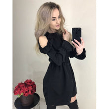 Load image into Gallery viewer, 2019 Autumn Women Solid Ruffle Mini Dress Sexy Off Shoulder Long Sleeve Elastic Waist Dress Women Casual A Line Party Dresses