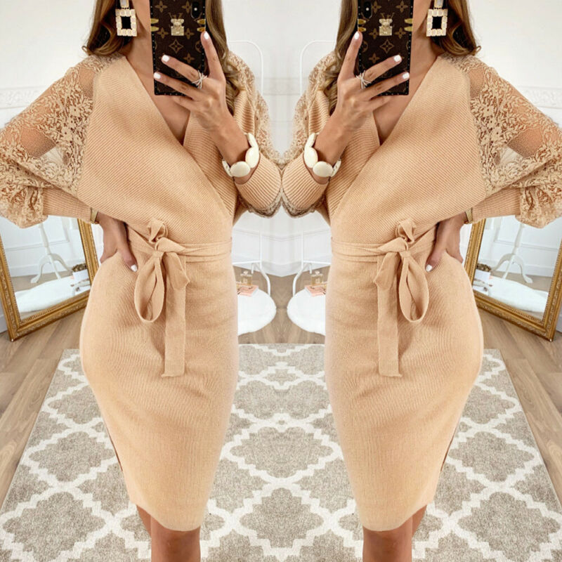 Women Dress 2019 Knitted Mini Dress Autumn Winter Ladies Sexy Khaki Sweater Dress Long Sleeve Vintage Club Dress